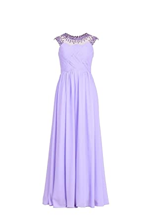 YiYaDawn Womens Long Prom Dress Formal Ball Evening Gown Size 20 UK Lavender