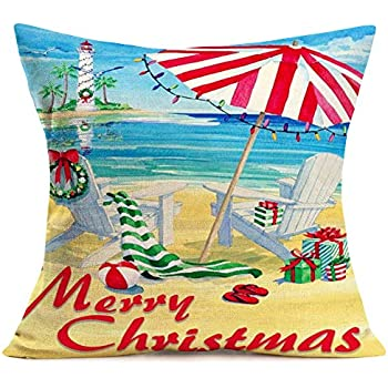 Fukeen Merry Christmas Beach Decor Throw Pillow Covers Retro Seaside Chair with Red Green Stripes Xmas Gifts Pillow Cases Cotton Linen 18