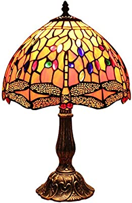 Bieye L30023 12 pulgadas Libélula Tiffany Style Vitral Lámpara de ...