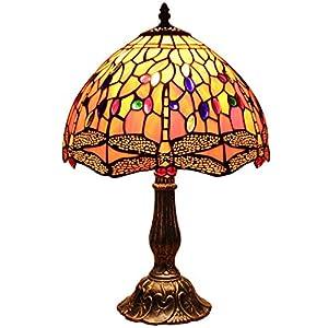 Bieye L30023 Dragonfly Tiffany Style lampe de table en verre teinté avec 12 pouces de large fait à la main abat-jour en…