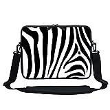 Meffort Inc 11.6 Inch Neoprene Laptop Sleeve Bag Carrying Case with Hidden Handle and Adjustable Shoulder Strap (Zebra Stripes)