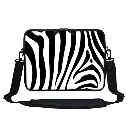 (Meffort Inc 11.6 Inch Neoprene Laptop Sleeve Bag Carrying Case with Hidden Handle and Adjustable Shoulder Strap (Zebra Stripes))