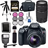Canon EOS Rebel T6 DSLR Camera with 18-55mm Lens + Canon EF 75-300mm Lens + Canon 100ES EOS Shoulder Bag Bundle