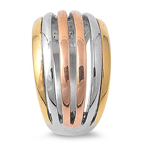 12MM Top Vented Gold, Rose, Silver Tone Stainless Steel Band Ring Size 6-10 (7)