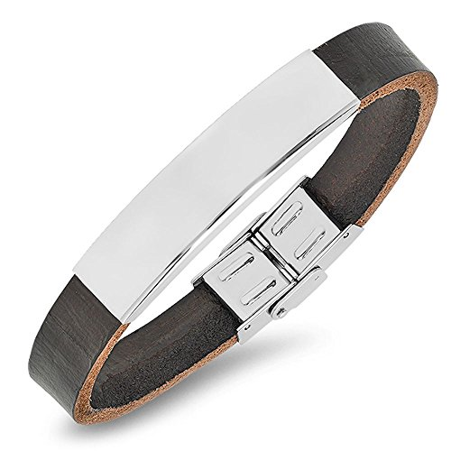 ForeverGiftsusa Free Engraving - Stainless Steel with Genuine Leather Id Bracelet
