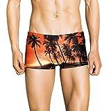 Women's Swimsuits Tankini Tronet Fashion Men Breathable Trunks Pants Beach Print Running Swimming Underwear Orange