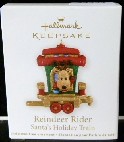 QRP5917 Reindeer Rider Santa's Holiday Train 2011 Hallmark Miniature Keepsake Ornament (Miniature Reindeer)