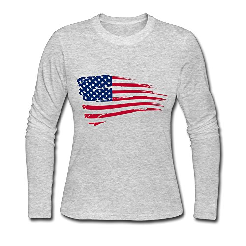 Women's Fashion American Map Long-sleeve T Gray US Size S