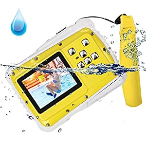 Kid Camera 12MP HD Waterproof Camcorder with 2 Inch LCD 4x Optical Zoom and Mic 9.9 ft Waterproof Camera Kids Birthday Holiday Gift Learn Camera Give Floating Wrist Strap(Yellow)