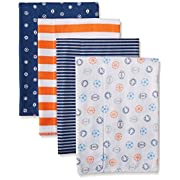 Gerber Baby Boys' 4 Pack Flannel Burp Cloths, Sports, One Size