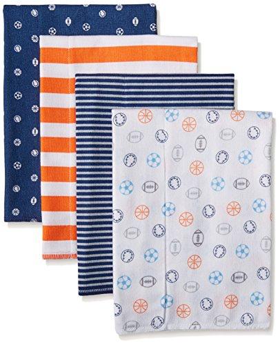 Gerber Baby Boys' 4 Pack Flannel Burp Cloths