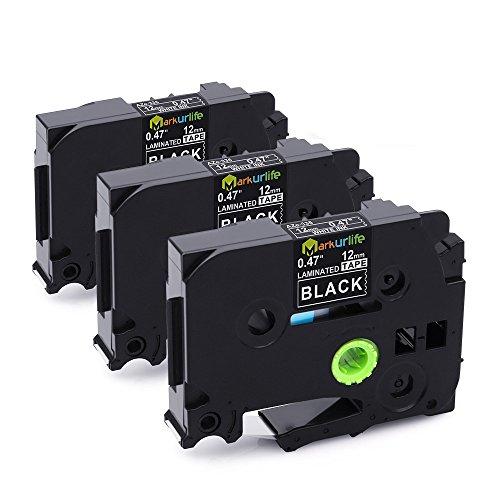 Compatible Brother P-Touch Label Tape White on Black, TZe335 TZ-335 Laminated Tapes 12mm for PT-200 PT-D210 PTD400AD PT-H100 PTD600 PT-P700 PT-2030 Label Maker, 1/2inch x 26.2ft, 3-Pack
