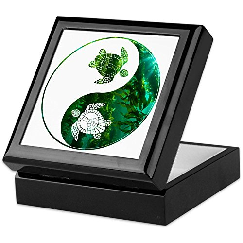 CafePress - Yn Turtle-03 - Keepsake Box, Finished Hardwood Jewelry Box, Velvet Lined Memento -