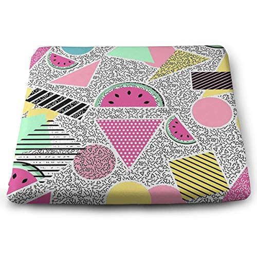 Pamdart Modern Geometric Pattern Memphis Patterns Inspired Customized Square Seat Cushion Memory Cotton Zipper Detachable for Dining Table Patio Chair (Furniture Patio Memphis)