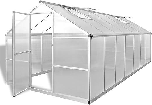 vidaXL Serre de Jardin Aluminium Renforcé 10,53 m² Tunnel Abri Légume Fruit
