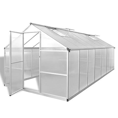 vidaXL Invernadero con Marco Base Aluminio 10,53 m² Invernáculo Caseta Galpón