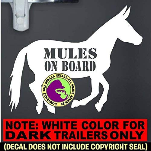 MULES ON BOARD Body Mule Horse Trailer Vinyl Decal Sticker C