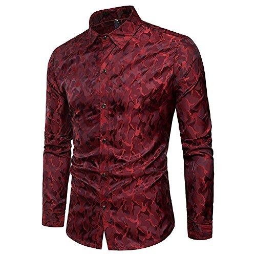WULFUL Men's Long Sleeve Stylish Slim Fit Button Casual Shir