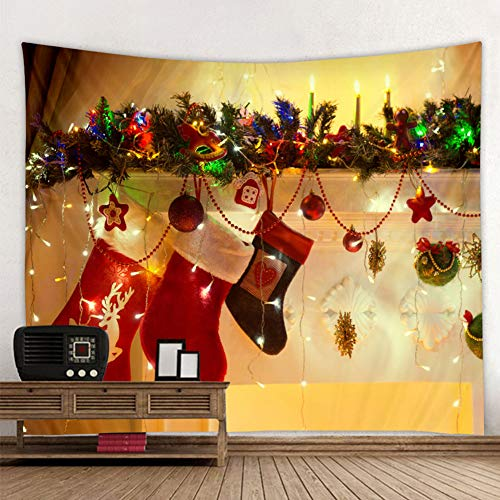 Muuyi Christmas Tapestry, Christmas Stocking Holiday Digital Printed Tapestry Wall Hanging Christmas Decorations for Office Living Room Bedroom Dorm Decor Machine Washable - 80x60 Inches