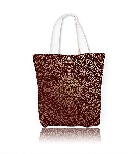 (Canvas Zipper Tote Bag brown oriental Reusable Canvas Zipper Tote Bag Printed 100% Cotton W23xH14xD7 INCH)