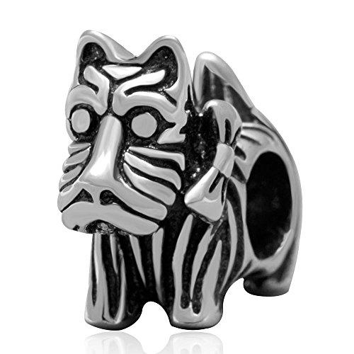 (Pukido Genuine 925 Sterling Silver Scottie Dog Charm Beads fit for Pandora Bracelets)