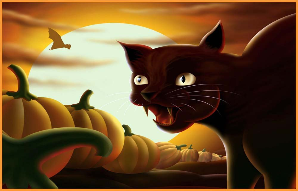 ブラック、Cat、Pumpkins Bat & Full Moon – エッチングビニールStained Glass Film , Static Cling Window Decal 21 in x 33 in B0097CTO9K 21 in x 33 in