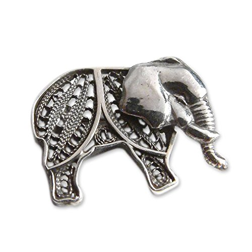 NOVICA .925 Sterling Silver Brooch 'Young ()