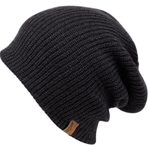 Reversible Cap Beanie Black (ANGELA & WILLIAM Men's Basic Reversible Slouch Beanie- Long Hipster Oversized Ribbed Knit Winter Skull Hat (Black))