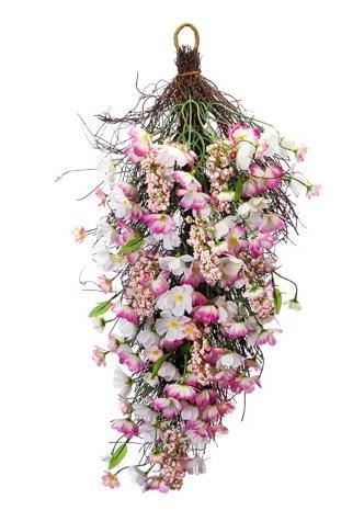 Silk Poppy Teardrop Swag In Pink Cream - 28 Inch Long