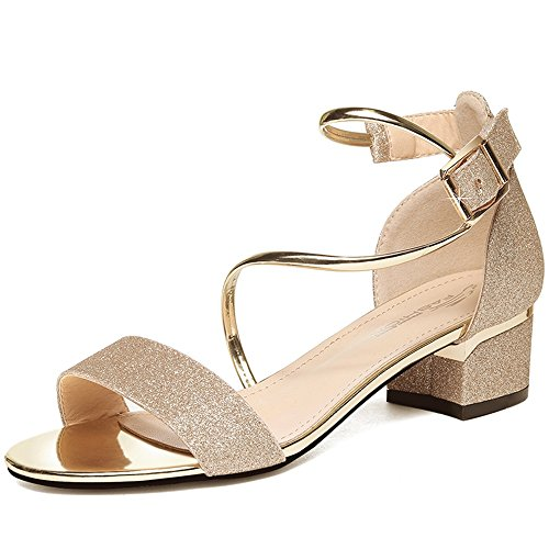 Sandals Feifei Women's Shoes Summer PU Material Fashion Vintage High-Heeled (Waterproof Table: 1CM, with High: 4CM) Gold