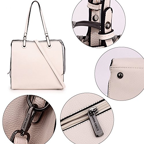 Zipper Look Handbag Bag Gorgeous New Beige Designer Large Design Front Handbag Ladies Faux Shoulder 2 Design Style Women Leather For Unique TSq6wz5x7