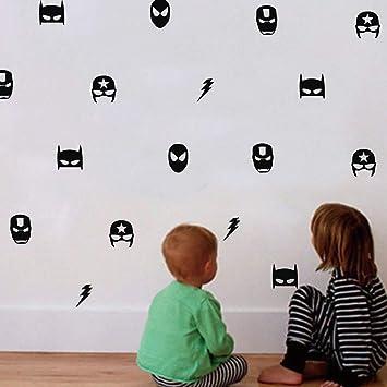 Superhero Marvel Mask Wall Sticker For Kids Boy Bedroom Decor Batman Superman Ironman Flash Captain America Wall Decals Wall Stickers Murals Amazon Canada