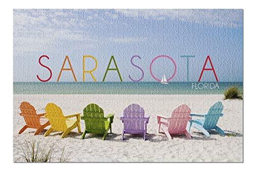 Sarasota, Florida - Colorful Beach Chairs (20x30 Premium 1000 Piece Jigsaw Puzzle, Made in USA!)