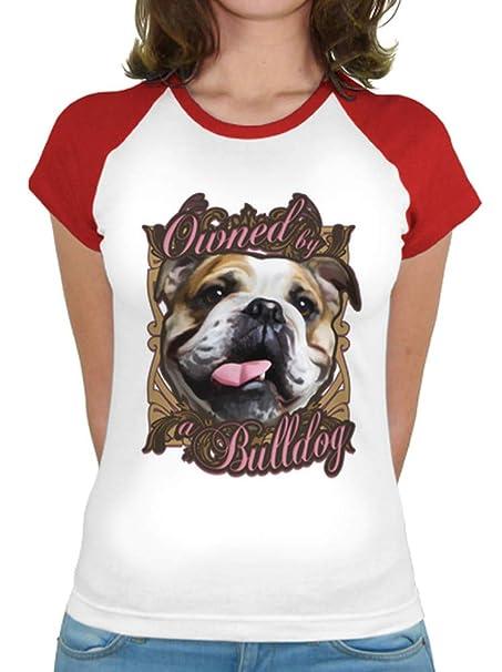 latostadora - Camiseta Owned by A Bulldog para Mujer Rojo L