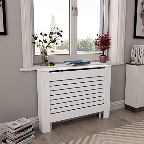 "Canditree White Radiator Cover, Heating Cover Cabinet MDF 44"" x 7.5"" x 32"""