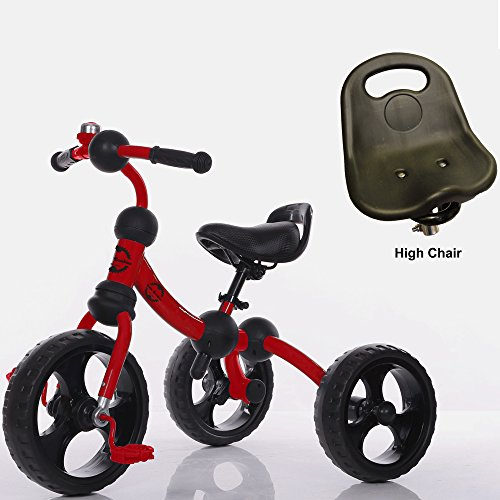 Little Bambino Tricycle for Children Toddler Age 2-6 Years Old Outdoor 3 Wheeler Pedal Ride On Trike with Bell   Quick Assembly   Adjustable Seat (Red)