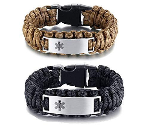LF 2Pcs Stainless Steel Personalized ICE Medical Alert Outdoor Rope Paracord Survival Medic ID Bracelet Sos Emergency Cuff Bracelets for Adult Hiking Camping Activities,Free Engraving Customized