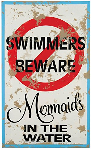 Mermaid Warning Tin Sign 15 x 9in ()