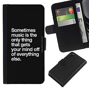 All Phone Most Case / Oferta Especial Cáscara Funda de cuero Monedero Cubierta de proteccion Caso / Wallet Case for Sony Xperia Z3 D6603 // cita de la danza canción de la música blanco negro