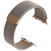 Top4cus Apple Watch Band 38mm, Milanese Loop Stainless Steel Bracelet Strap Replacement Wrist iWatch Band with Magnet Lock for 38mm Watch – Gold