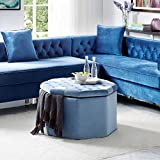 Cheap Inspired Home Silvia Blue Velvet Storage Ottoman – Cocktail Coffee Table | Upholstered Tufted | Modern Octagon