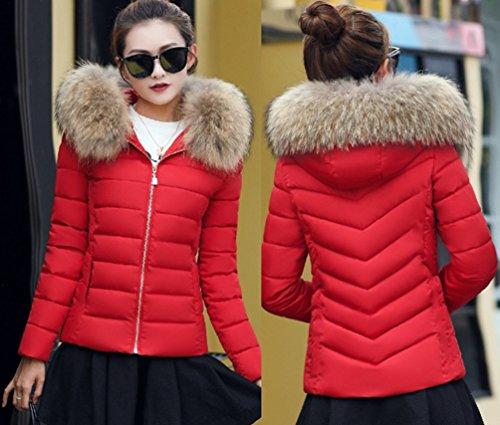 Sentao Veston Rouge Jacket Capuche Hiver Veste Court Fourrure Femme Manteau Parka Elegant Chaud Blouson Hoodie Fausse a0WZ0U