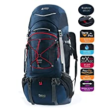 TERRA PEAK Adjustable Hiking Backpack 55L/65L/85L+20L for Men Women With Free Rain Cover Included