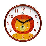 CAMY New 11.5 Inch Silent Ticking/Olive Kids Animal Kingdom - Cartoon Lion Wall Clock (Orange)