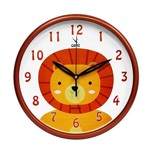 CAMY New 11.5 Inch Silent Ticking/Olive Kids Animal Kingdom - Cartoon Lion Wall Clock (Orange) by CAMY