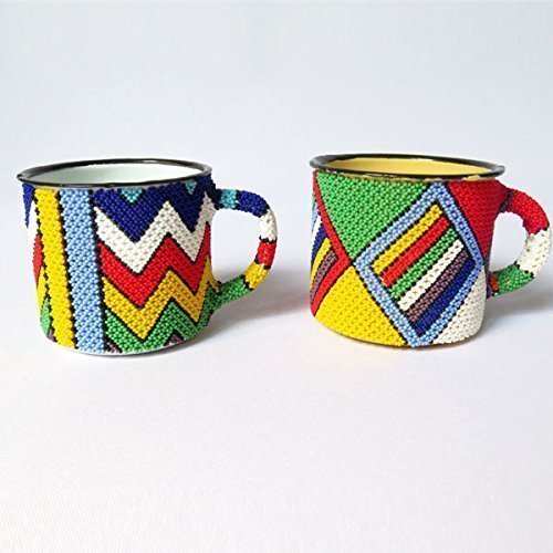 Africa Mug - African Zulu beaded Mug, gift from Africa - Set of 2 mugs