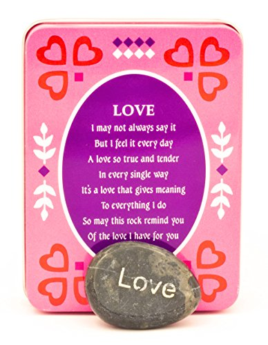 Made Easy Kit Decorative Forever Gift Metal Tin Box Stones Sentiment Unique Theme Poem Choice Friendship, Happiness, Strength, Love, Dream, Hope, Courage (Love) ()