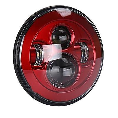 OVOTOR 7inch Red LED Headlight Hi/Lo Beam for Jeep Wrangler JK 07-17 Hummer H1 H2 Pack of 2