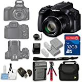 Canon PowerShot SX60 HS Digital Camera + 32GB High Speed SD Card + Camera Case + Card Reader + Cleaning Kit + Extra Battery and Charger + Flexible Tripod - International Version