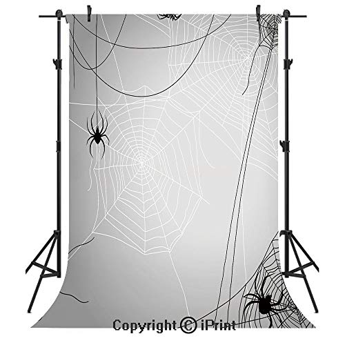 Spider Web Photography Backdrops,Spiders Hanging from Webs Halloween Inspired Design Dangerous Cartoon Icon Decorative,Birthday Party Seamless Photo Studio Booth Background Banner 3x5ft,Grey Black -